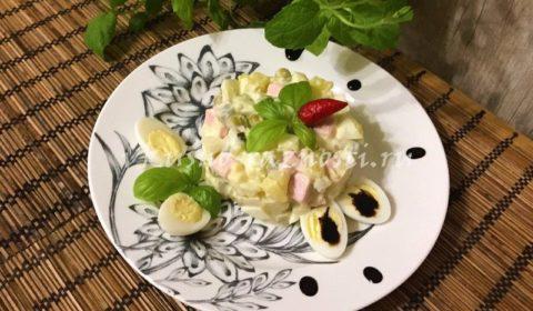 Рецепт вкусного Оливье или Как приготовить салат Оливье с колбасой