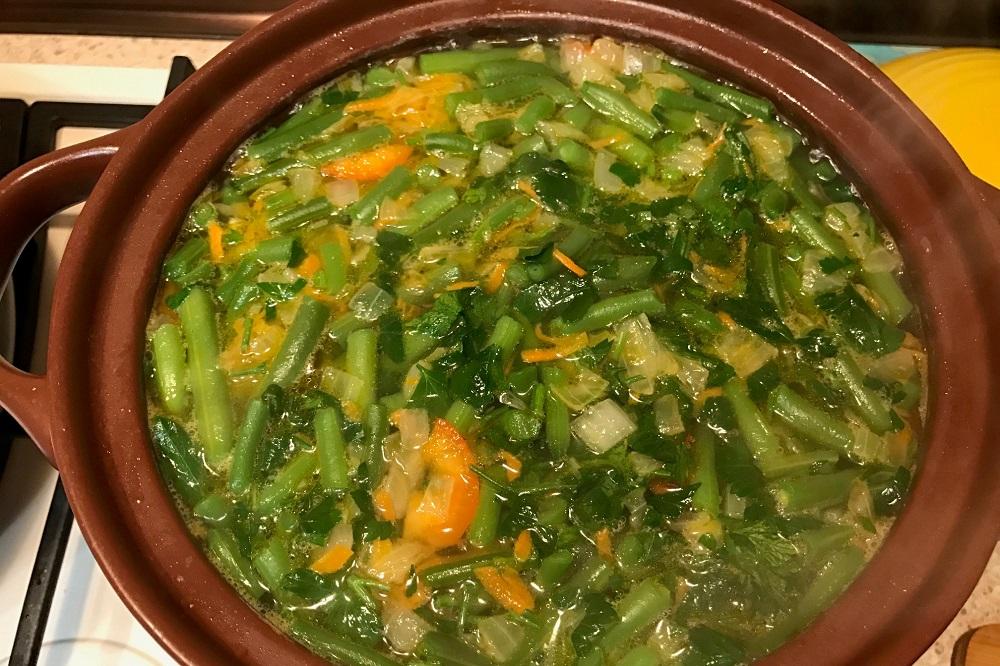 postnyi sup iz struchkovoi fasoli zamorozhennoi