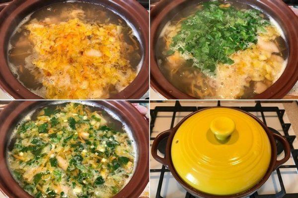 Zakladyvaem v sup podzharku, zelen, chesnok