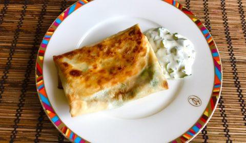 Кутабы из лаваша с сыром и зеленью рецепт с фото