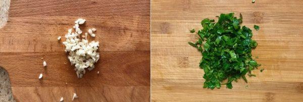 Izmelchaem zelen i chesnok
