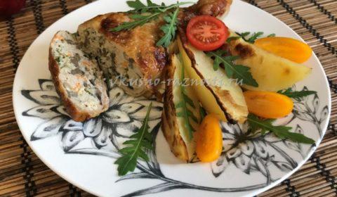 Фаршированные окорочка в духовке рецепт с фото и картошкой