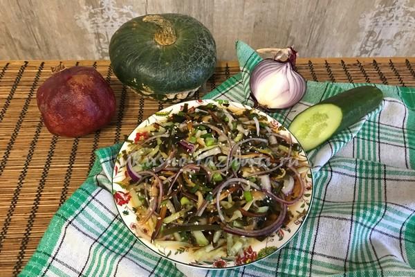 Kak prigotovit salat iz morskoi kapusty ogurcov i gribov