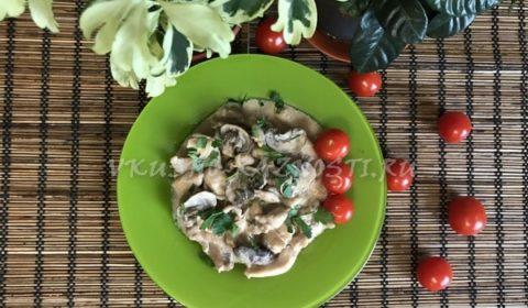 Бефстроганов из курицы с грибами. ПП ужин за 30 минут.