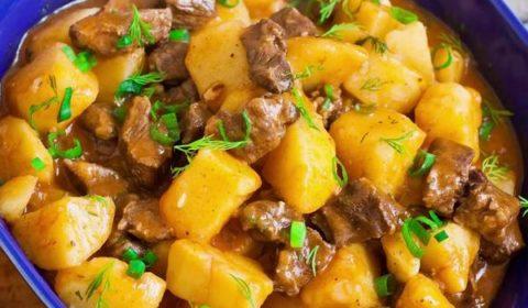 Жаркое по-домашнему из говядины с картошкой