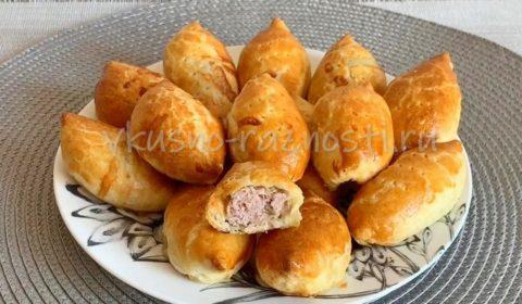 Пирожки из слоеного бездрожжевого теста с мясом