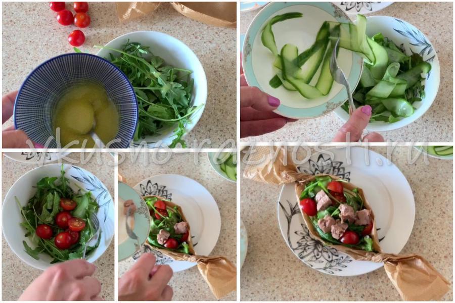 Sobiraem salat s pechenyu treski