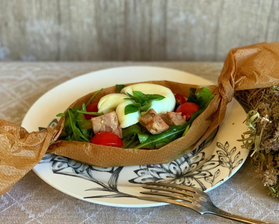 Salat s pechenyu treski PP