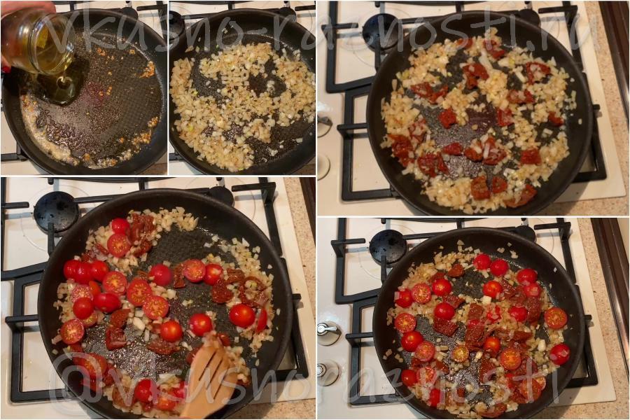 Obzharivaem luk i pomidory
